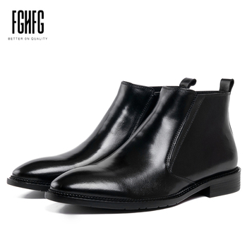 Men's Leather Boots Cowhide Leather Ankle Chelsea Boots Wedding Business Dress Rubber Sole Zipper Opening 2019 New Fashion