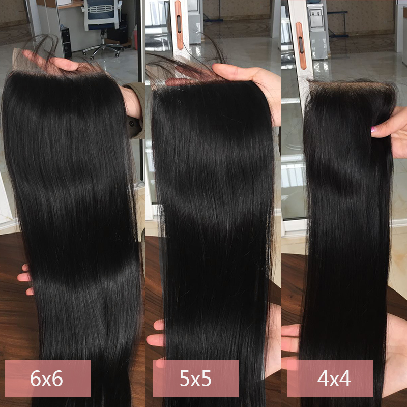 6 6 Lace Closure With Peruvian Hair Bundles Straight Hair 3 Bundles With 6x6 Closure Pre Plucked Non Remy Lucky Queen Hair in 3 4 Bundles with Closure from Hair Extensions Wigs