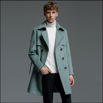 S-6xl New Plus Size Men Clothing Autumn And Winter Fashion Double-breasted Cashmere Trench Long Coat Casual Slim Woolen Jacket