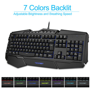 Image 2 - Clavier de jeu Programmable TeckNet led 7 couleurs claviers de jeu rétroéclairés arc en ciel conception résistante à leau disposition britannique pour Windows