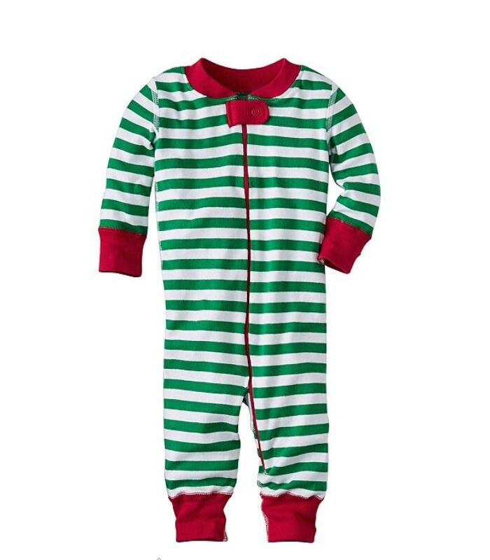 Рождественский классический хлопковый комбинезон в полоску для маленьких мальчиков и девочек, одежда для сна, пижамы, Рождественская одежда для сна унисекс, kigurumis - Цвет: Зеленый
