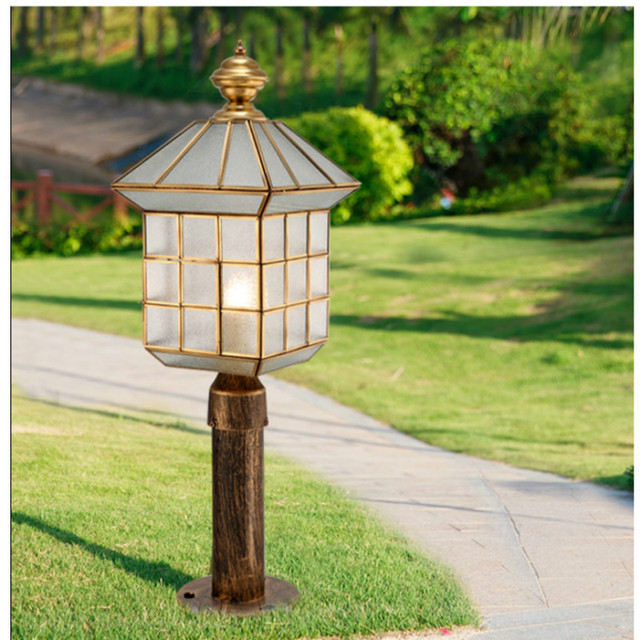 Park 1 pcs Copper Landscape lights standing Outdoor Pillar Light Courtyard Waterproof Garden lighting Outdoor Column head Lamp