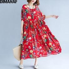 DIMANAF Kadınlar yaz elbisesi Artı Boyutu Baskı Çiçek Femme Bayan Zarif Vintage Vestidos Büyük Boy Gevşek 2018 Tatil Uzun Elbiseler