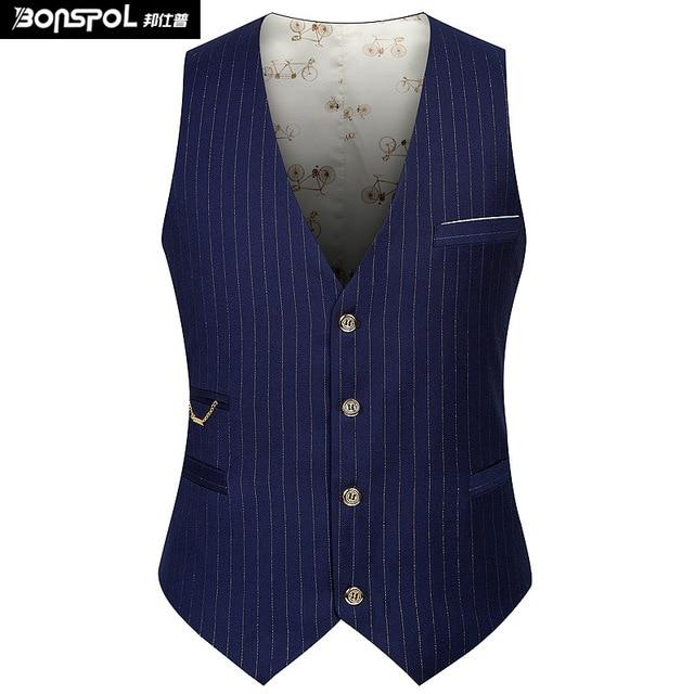 Brands BONSPOL men work vests stripe vest male high quality fashion wholesale vest suit new arrival Black Solid Blazer Vests
