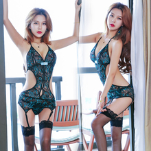 Exotic Lingerie Sets G-String Thong Underwear Nightwear Women Sexy peacock hollow out embroidery classic cheongsam interest suit