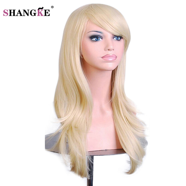 SHANGKE 28   Long Wavy Synthetic Wigs For Women Pink Purple Cosplay Wig  Heat Resistant Fake Hair Wig Pieces 10 Colors 349696a09