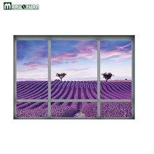 Maruoxuan 2017 New 3D Purple Lavender Manor Landscape Fake Window Sticker Bedroom Bedside Background Decorative PVC Wall Sticker
