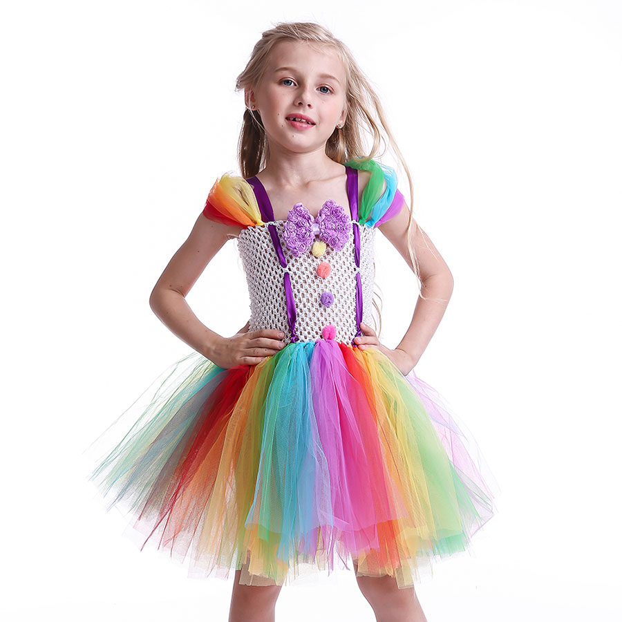Girls Circus Fancy Clown Tutu Dress with Bow Children Handmade Rainbow Tulle (3)