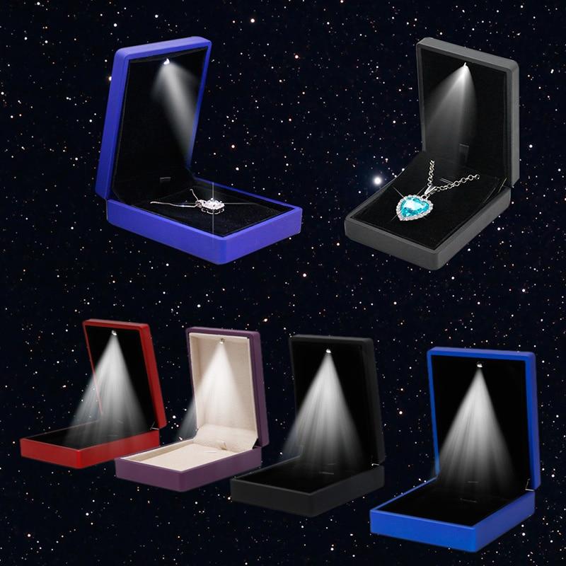JAVRICK  Premuim LED Light Pendant Necklace Gift Box Case Jewelry Display Wedding Pendant Necklace Box