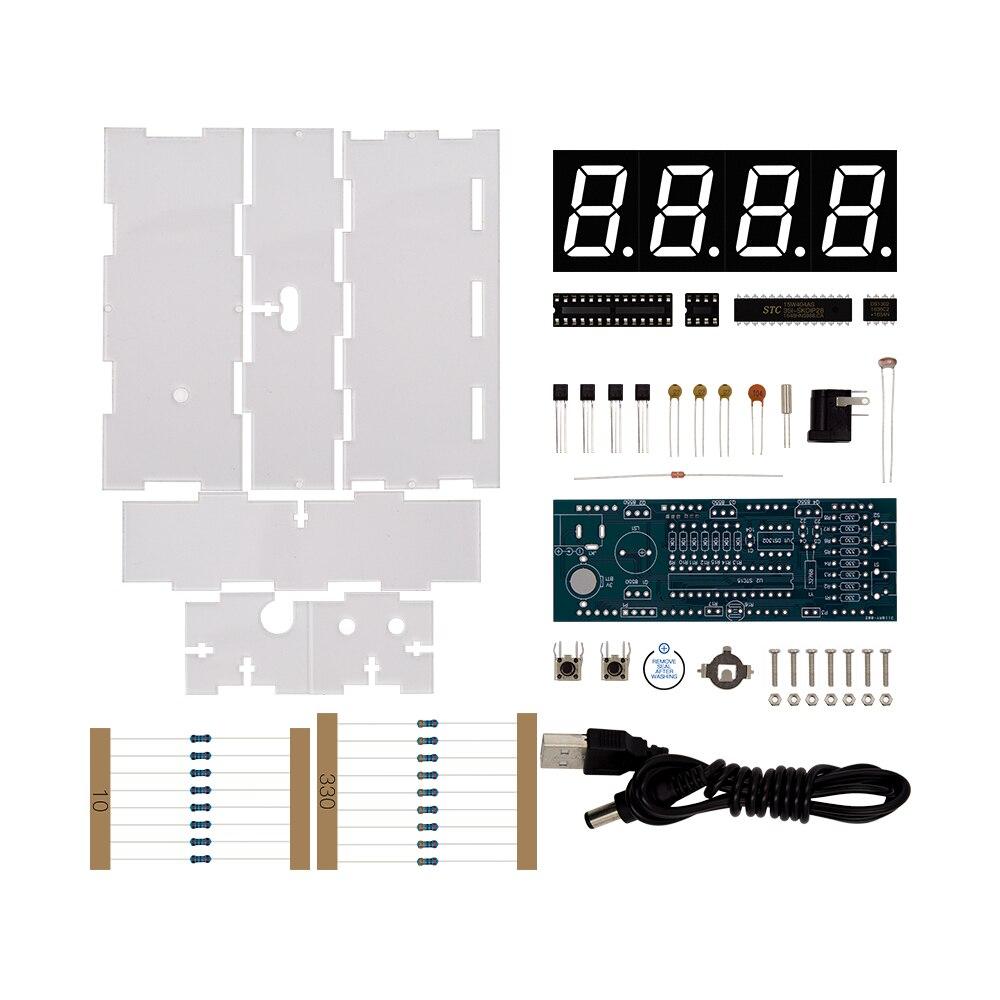 DIY Kit Grüne LED Elektronische Uhr Mikrocontroller Digitaluhr Zeit Thermometer Mit PDF Tutorial