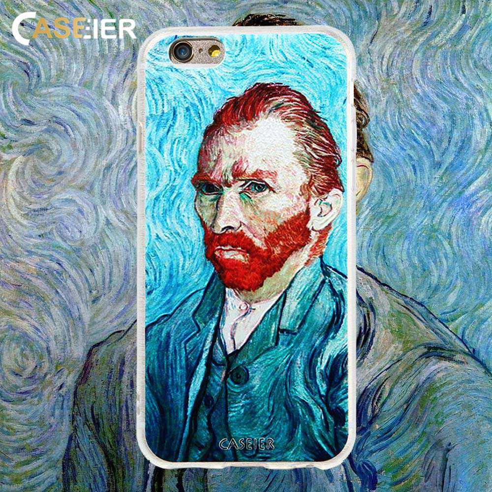 CASEIER Van Gogh Phone Case For iPhone 6 6s Plus Soft Silicone Cases For iPhone X 7 8 Plus self-portrait Patterned Funda Capinha