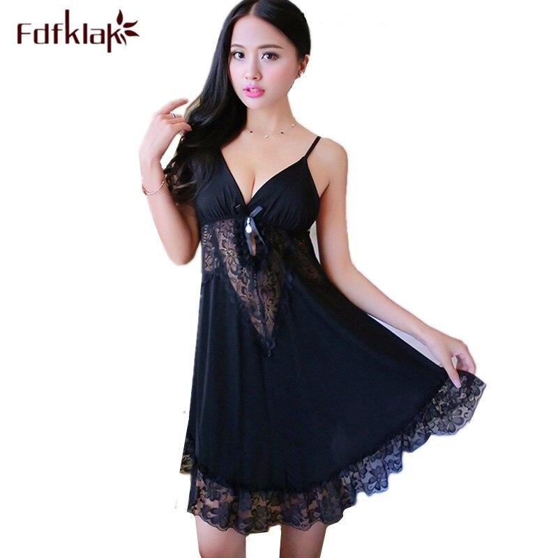 Fdfklak M-2XL Large Size Nightgowns Women Sexy Sleepwear Dress Ladies Loose Nightdress Lace Nighty Summer Night Wear Shirt