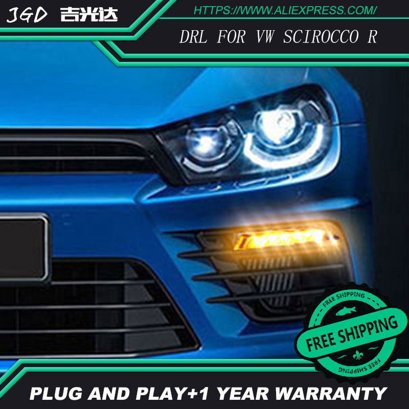 hot sale ! 12V 6000k LED DRL Daytime running light case for VW Volkswagen Scirocco R 2009-2014  LED DRL Daytime Running Light