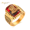 Meaeguet Men's Rock Punk Ring Gold Plated Large Red CZ Stone Ring Jewelry 1973 Tigers Head Party Rings For Men