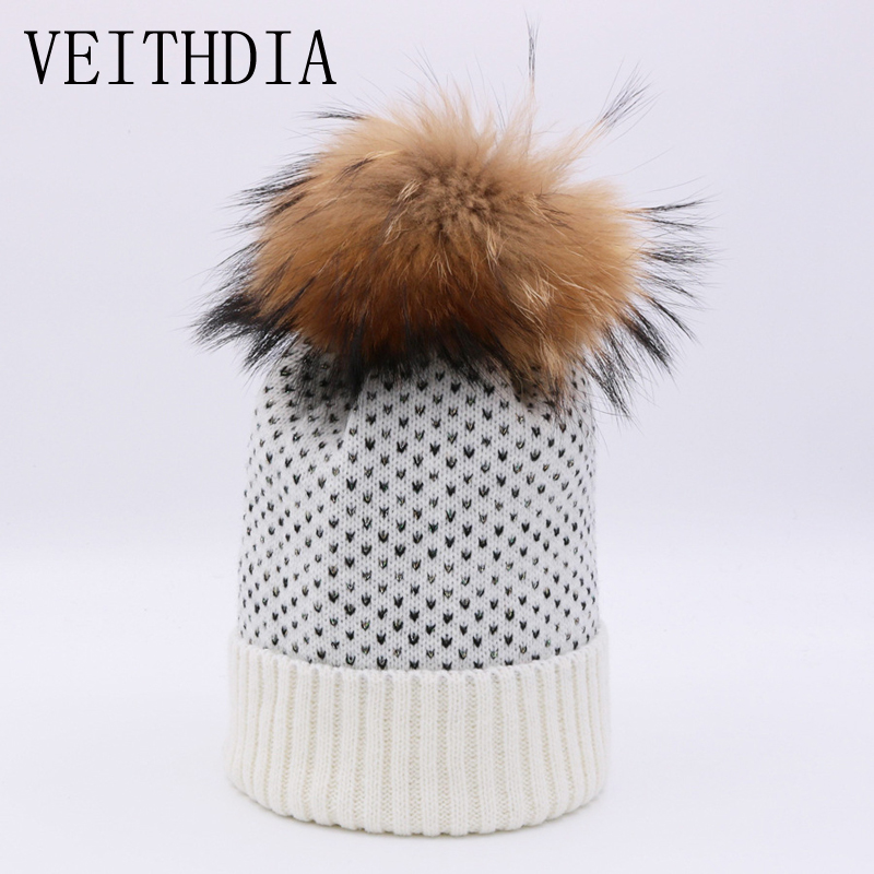 VEITHDIA women winter beanie hat Rabbit fur wool knitted hat the female of the mink pom pom Shining Rhinestone hats for women women s winter beanie hat wool knitted cap shining rhinestone beanie mink fur pompom hats for women