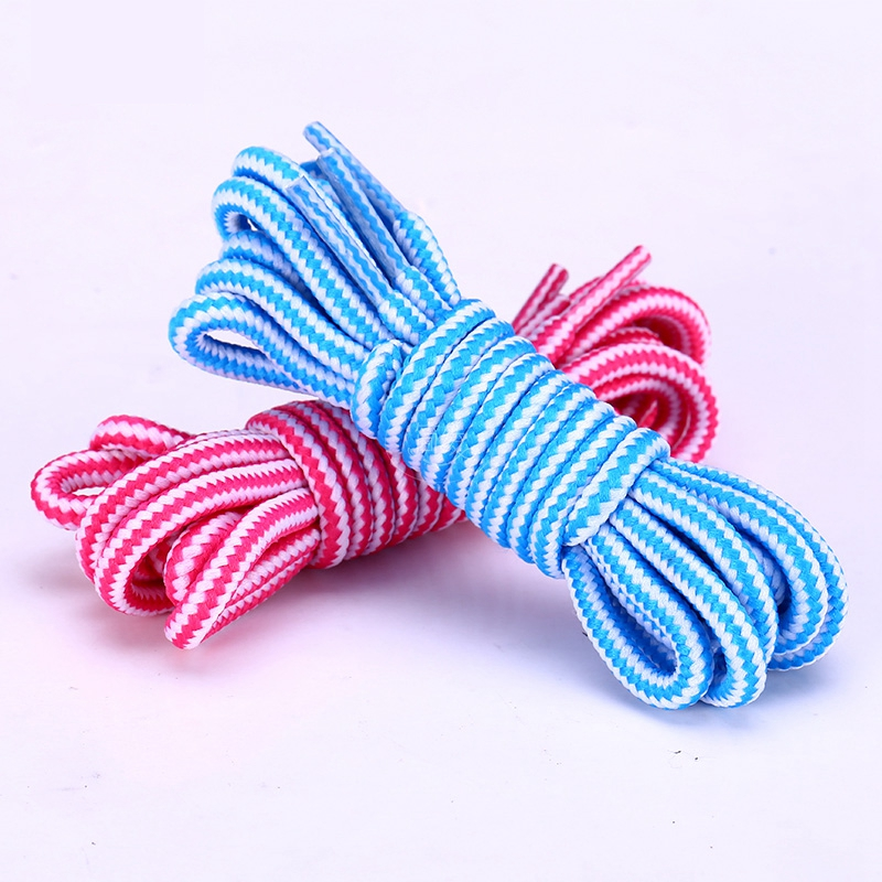 1 Pair Striped Double Color Shoe laces Round Shoelaces Outdoor Leisure Shoe lace Unisex High Quality Leather Boot Shoelace in Shoelaces from Shoes