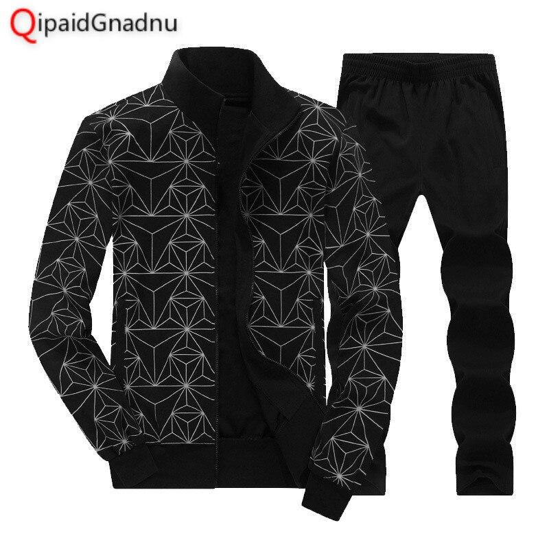 Survêtement homme vêtements survêtement ensemble Crossfit 2019 hommes ensemble printemps hommes survêtement Sportswear 2 pièces ensemble costume grande taille 7XL