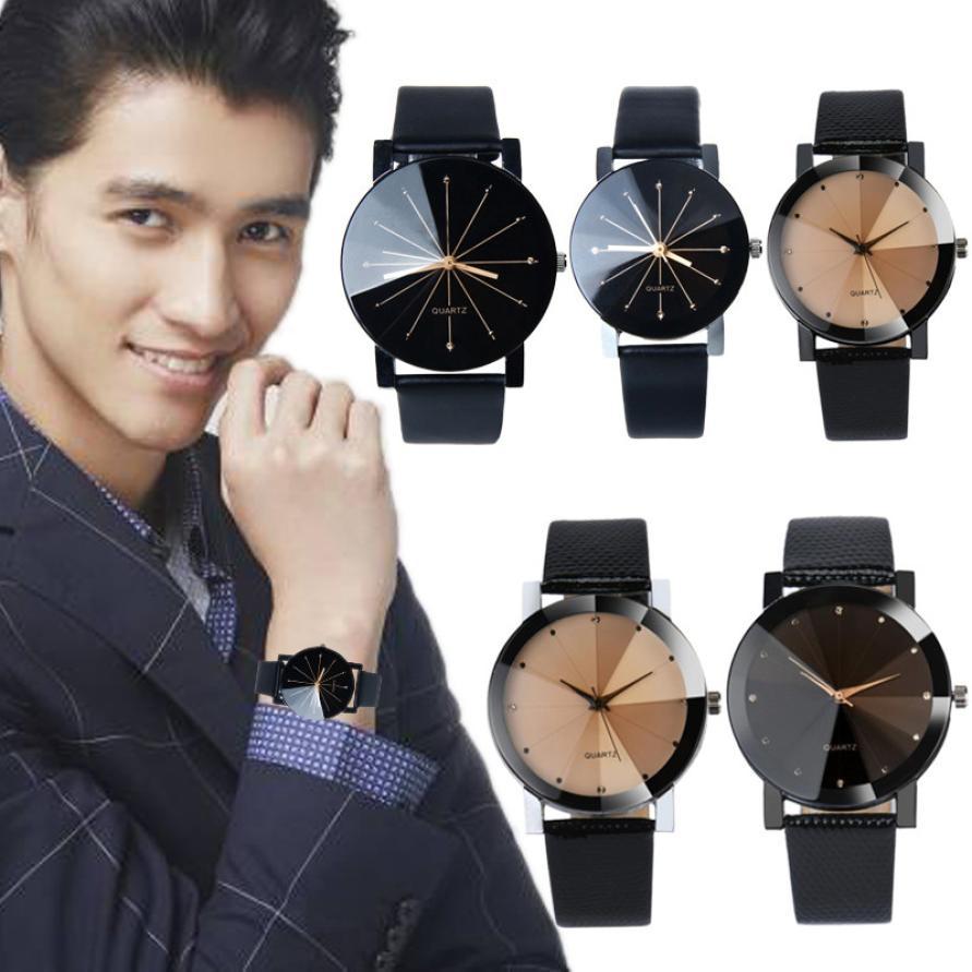 New watch men Checkers Faux lady dress watch, womens Casual Leather quartz-watch Analog wristwatch Gifts relogios feminino