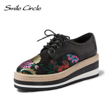 Fashion Embroidery women Platform Oxfords Flats Shoes Leather Lace Up Pointed Toe Brand Female Footwear Shoes for women Creepers