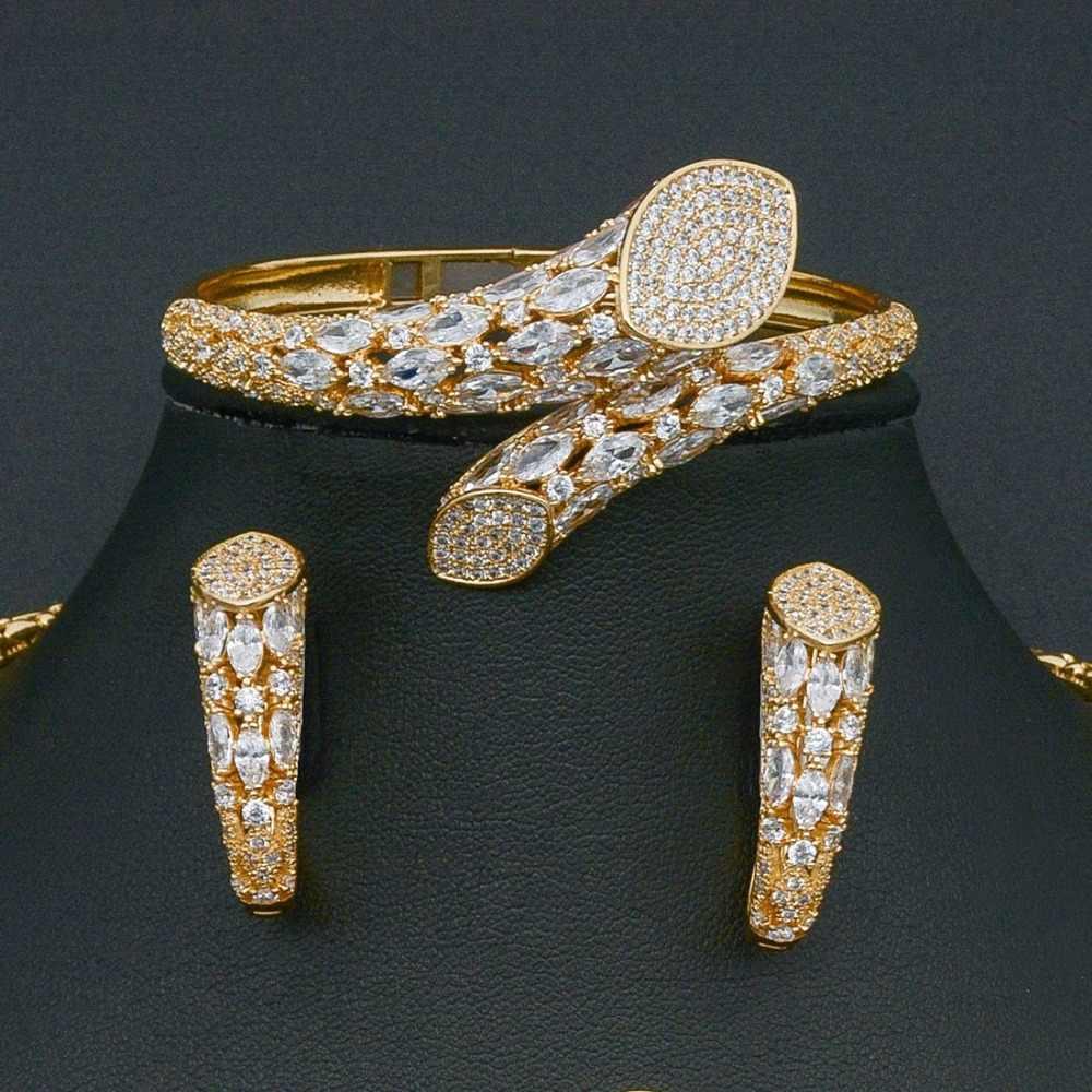 スーパー Aaa キュービックジルコニア銅高級ブランドネックレスバングルイヤリングリングファッションセット女性ドレス婚約ウェディングブライダル