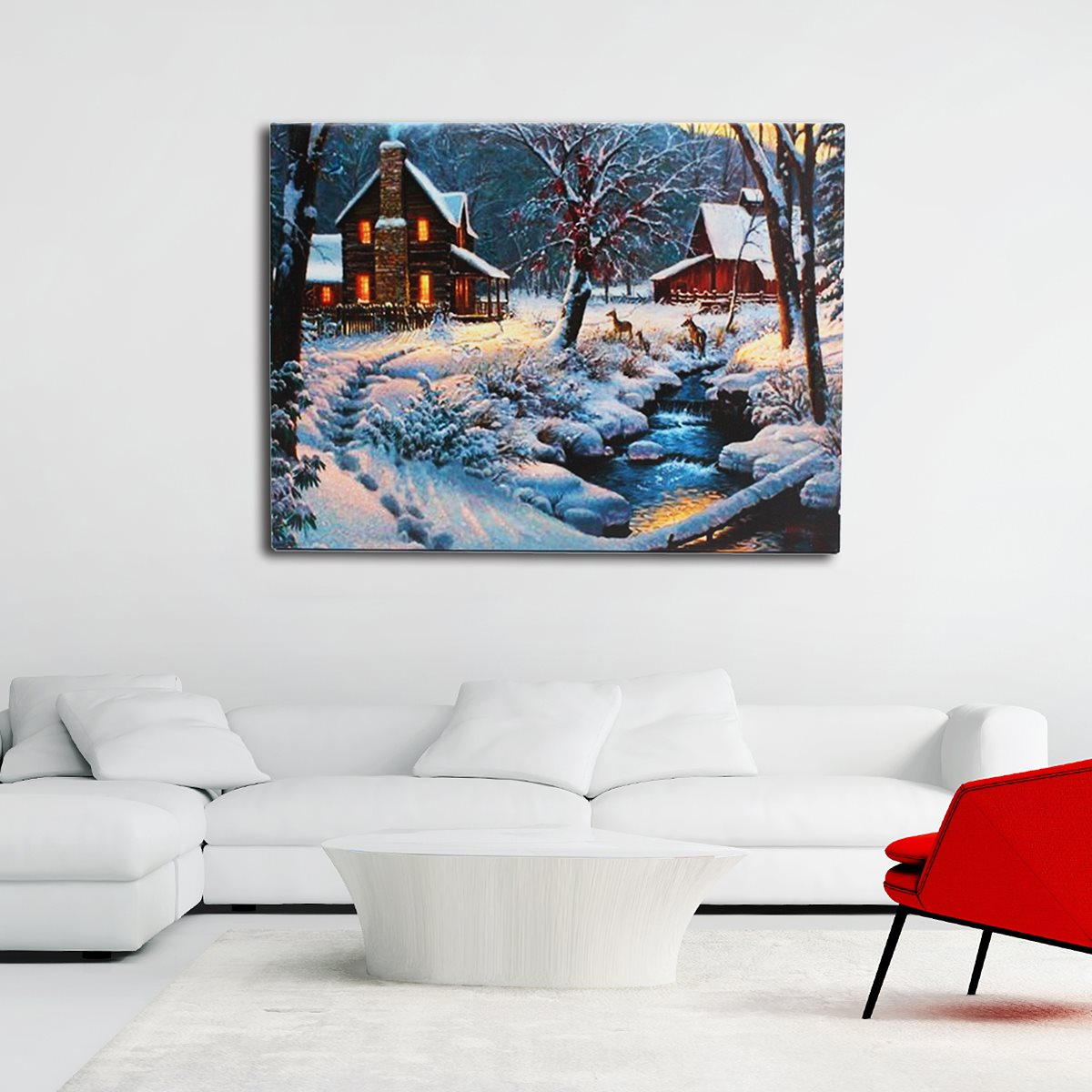 Hiasan Dinding Lukisan Pemandangan Musim Dingin Rumah Light Up