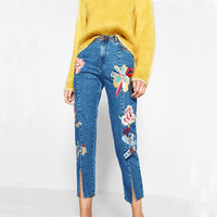 Long Pants 2017 Fashion High Waist Jeans Women Split Embroidery Floral Pattern Casual Pencil Denim Pants
