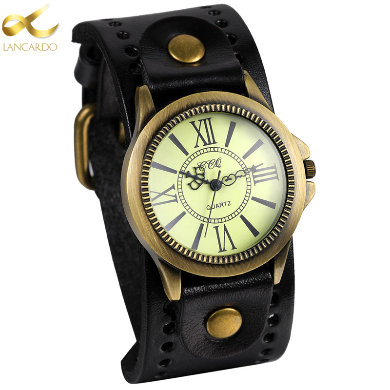 2b4f93bb0dc6 Lancardo Black Men Watch Fashion Quartz Wrist Watches Punk Reloj Mujer  Relogio Feminino Leather Hot Women Montre Free Shipping