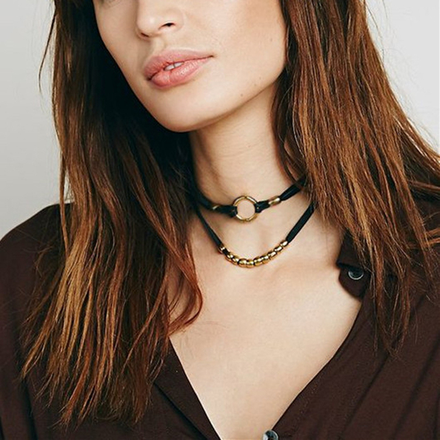 Double Layer 90s Choker Necklace Black Velvet Rope Necklaces With Silver/Gold Color Metal Circle Beads Short Necklace Women