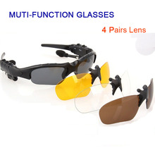 Multi-function 4.1 Stereo Bluetooth Earphones Glasses Outdoor Polarized Sports Sunglasses Driving Goggles Eyewear 4 Lens
