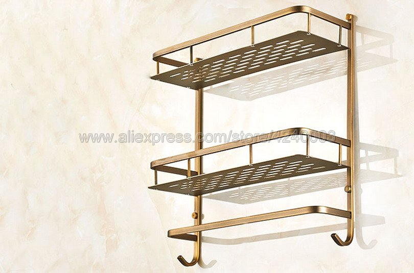 Bathroom Shelves 2 Layer Antique Metal Shower Corner Shelf Wall Mount Shampoo Storage Shelf Rack Bathroom Basket Holder Kba527 - 3