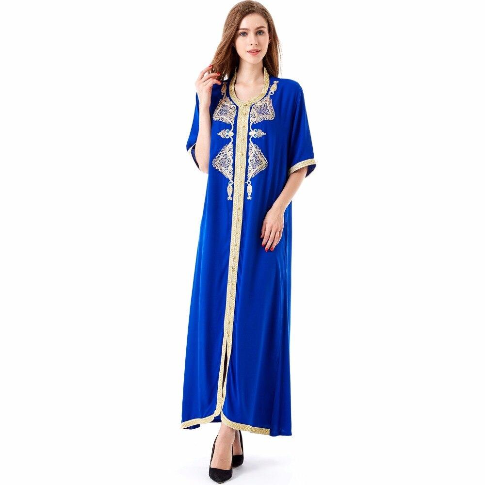 Mujeres largo maxi dress de manga larga kaftan marroquí caftán jilbab abaya islá