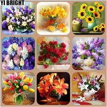 Diamond Mosaic Cross Stitch Kits Embroidery Beautiful Flowers Blooming Painting Full Home DecorateGT