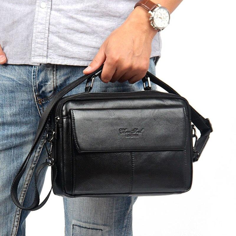 Men's Genuine leather First layer Business Messenger Shoulder Cross Body Bag Male Tote HandBag Purse Handbags
