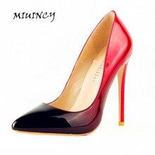 Frauen Pumpt Hohe Absätze Markenschuhe Frauen Farbe Leater Schuhe Sexy Spitzen Stiletto High Heels frauen Pumpt große größe 35-45