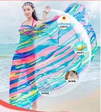 131243c18f74 Summer Scarf Women s 150 180cm Long Pareo Scarves Striped Rainbow Print  Chiffon Hijab Bikini Cover Up Beach Sarongs Wrap