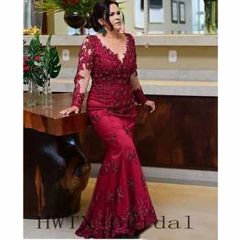 Long Sleeves Mermaid Mother Of The Bride Dresses Plus Size Illusion Sheer Vintage Lace Beaded Wedding Party Formal Gowns 2018 - DISCOUNT ITEM  21% OFF All Category