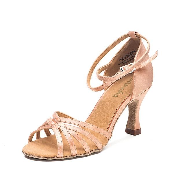 fe3fd1a32 Sansha Satin Upper Ballroom Tango Latin Salsa Dance Shoes For Women Girls  Dancing Shoes 7.5CM