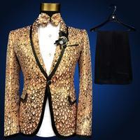 2017 أحدث معطف بانت تصاميم الدعاوى أداء الذهب رجل دعوى ضئيلة تناسب الرجال الزفاف حفلة موسيقية الدعاوى (سترة + السراويل) terno