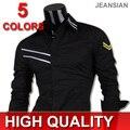 Jeansian Mens Fashion Cotton Designer Cross Line Slim Fit Dress man Shirts Tops Western Casual S M L XL 0777