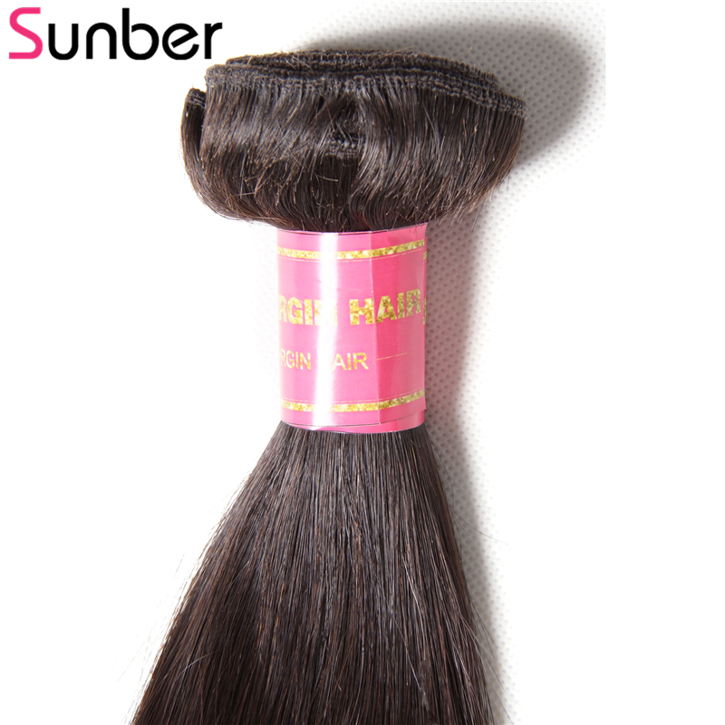 SUNBER HAIR 4 Bundles Straight Brazilian Hair Weft 8-30 100% Human Hair Extensions Remy Hair Double Weft Free Shipping