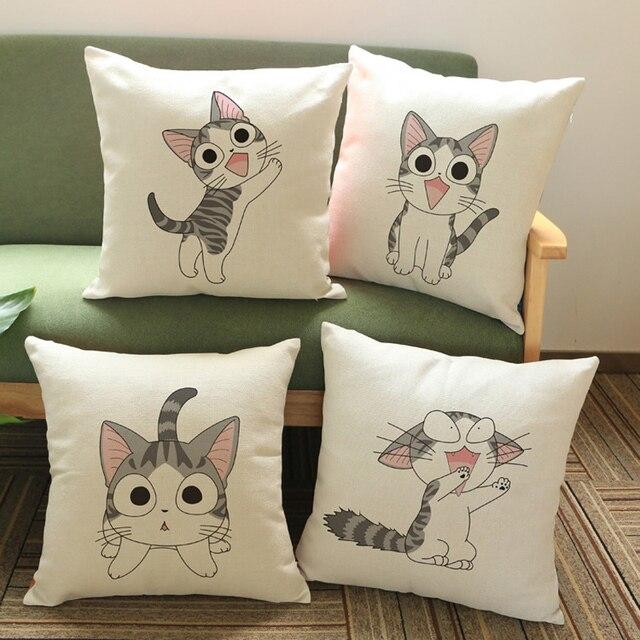 Serie de Animales Gato Almohada Cojín bordado Funda de Almohada
