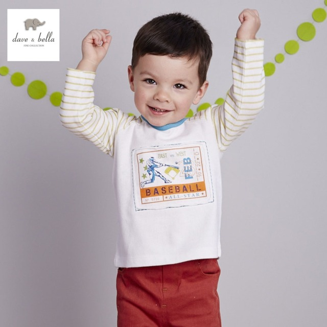 DB1852 dave bella spring autumn 100% cotton baby boys t shirt kids clothes baby T-shirt infant tops toddle cloth outerwear