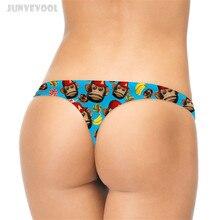 Panties Women Thongs Strings 3D Funny Monkey Emoji Printed Women's T-back G-string Thongs Seamless Underwear Pants Plus Size