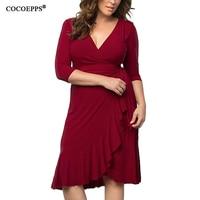 Summer Sexy Ruffles Pleated Dresses Women Clothing 2107 Elegant Plus Big Large Size V Neck Party