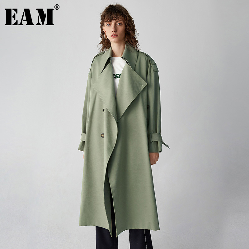 EAM 2019 New Spring Lapel Long Sleeve Bandage Double Breasted Loose Big Size Long Windbreaker