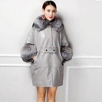 Роскошные Новая мода 2018 женская из натуральной овечьей кожи пальто с большой натуральным лисьим меховой воротник рукав