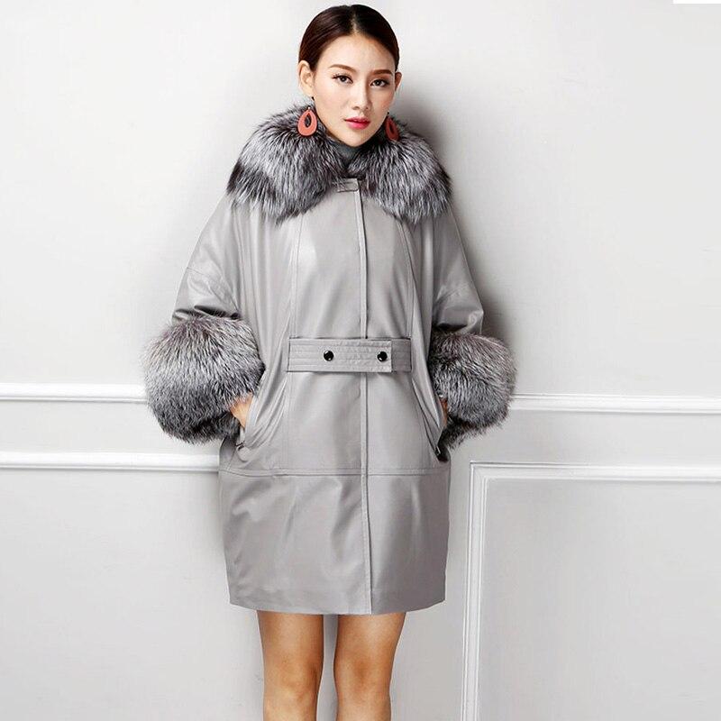 Manteau de luxe en cuir de mouton véritable 2018 pour femmes avec grand col en fourrure de renard naturel manches chauve-souris gris noir
