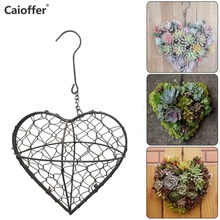 Caioffer Rustic Iron Wire Wreath Frame for Succulent Hanging Planter Flower Holder (Plants are Not Included) Dry Mosss Gift