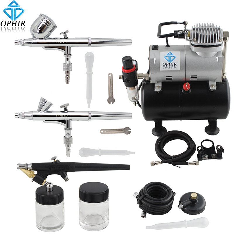 OPHIR 3 Airbrush Guns Dual Action&Single Action Air Brush Compressor with Tank for Nail Art Temporary Tattoo_AC090+004A+071+073 ophir 0 3mm dual action airbrush kit with air compressor for cake decorating nail art temporary tattoo air brush ac003g 004 011
