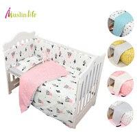 Muslinlife 3 Pcs/set Seprai Set fashion Kaktus/Flamingo/Fox Pattered Katun Tempat Tidur Set (Duvet Cover + Sarung + Flatsheet)